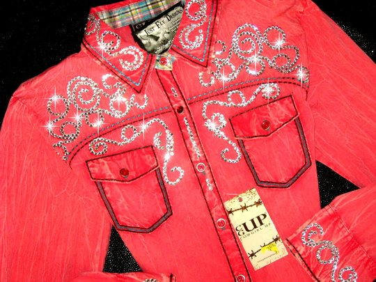 COWGIRL UP! CORAL ! TURQUOISE DETAIL! !  BLING! SIZE XL!
