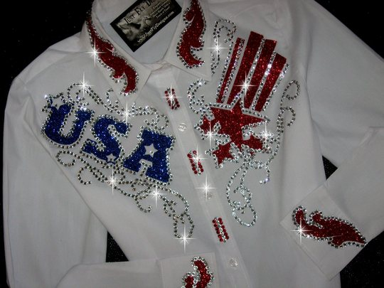 USA PROUD! PATRIOTIC BEAUTY! MEGA BLING!