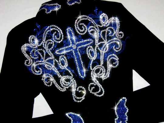 REGAL ROYAL BLUE SPARKLE CROSS & SCROLL!!