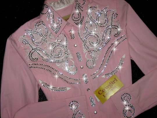 BABY PINK with WHITE EMBROIDERY! FEMININE BLING!