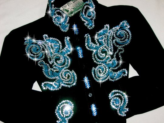 YOUTH SIZE! Turquoise Sparkle Scroll! 10/12