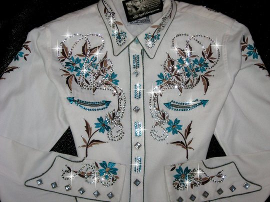 VINTAGE PANHANDLE SLIM! White, Turquoise and Taupe!