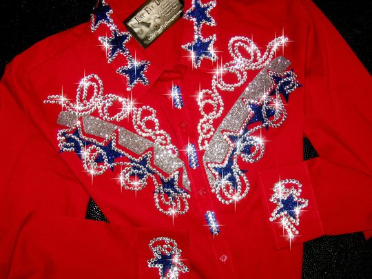 PATRIOTIC RED! ROYAL BLUE STARS! *SOLD