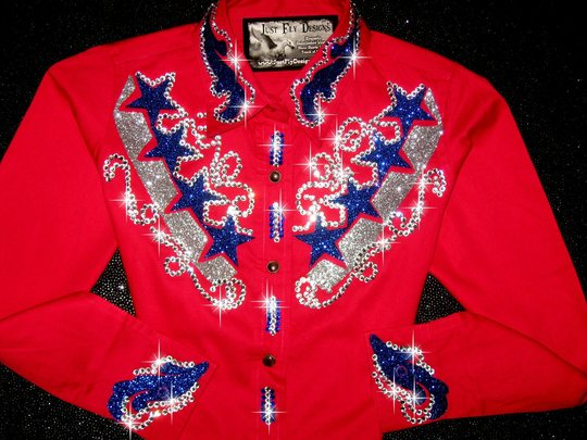 YOUTH PATRIOTIC PRIDE!  RED, ROYAL BLUE & SILVER! BLING!