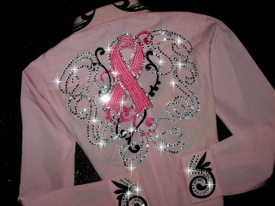 YOUTH SIZE!! TETWP! EMBROIDERED BREAST CANCER RIBBONS! BLING GALORE!