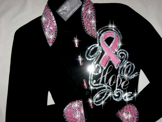 HOPE! PINK RIBBON SHIRT!  EMBROIDERED! MEGABLING!