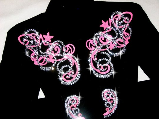 YOUTH! STARS & SCROLLS!! HOT PINK  SPARKLE!