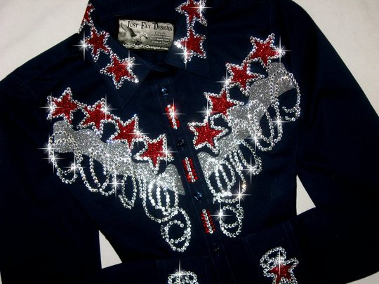 PATRIOTIC! NAVY BLUE with RED & SLIVER SPARKLE!