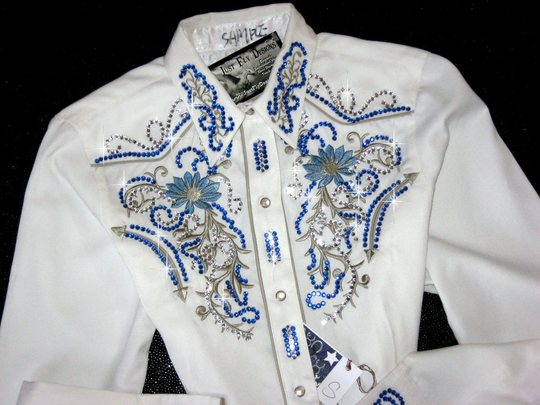 SPRING FLING! Roper Sample Shirt! EMBROIDERED! Embellished with Clear & Sapphire!