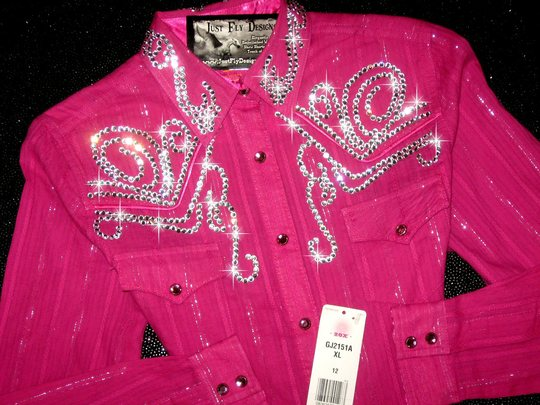 * YOUTH XL! HOTTEST PINK! SILVER THREAD!