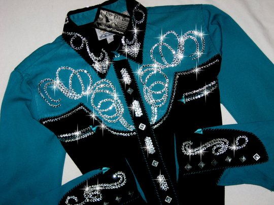PANHANDLE SLIM! TURQUOISE/ TEAL YOKES! ! BLING GALORE!
