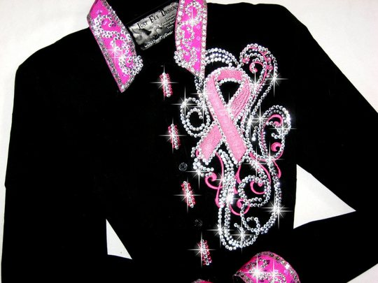 PINK RIBBON! NEW SCROLL DESIGN!!  BLING GALORE!