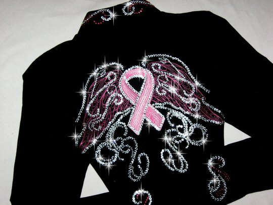 SOLD! BREAST CANCER AWARENESS! WINGS OF HOPE! EMBROIDERED BLING!