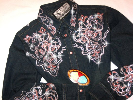 DENIM & DIAMONDS!! EMBROIDERED! BLINGED TO THE MAX!