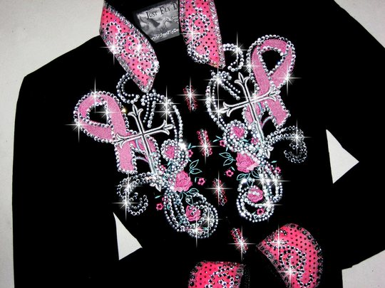 BREAST CANCER RIBBON! YOUTH OR PETITE! EXQUISITE EMBROIDERY!