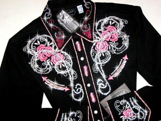 FRONTIER WESTERN! PINK ROSES & SCROLLS! BLING GALORE!