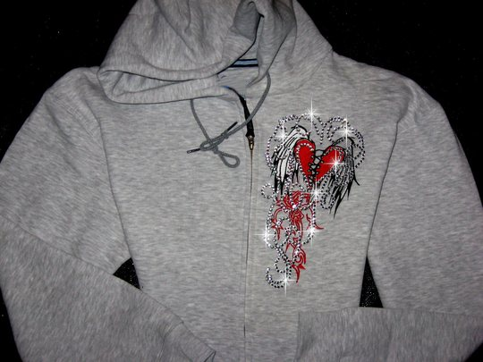 HOODIE!  LARGE  EMBROIDERED & BLINGED!! TATOO INSPIRED WINGS!!