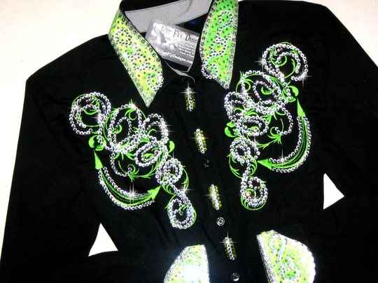 Luscious Lime! Brilliant Color! Custom Embroidered- Bling !