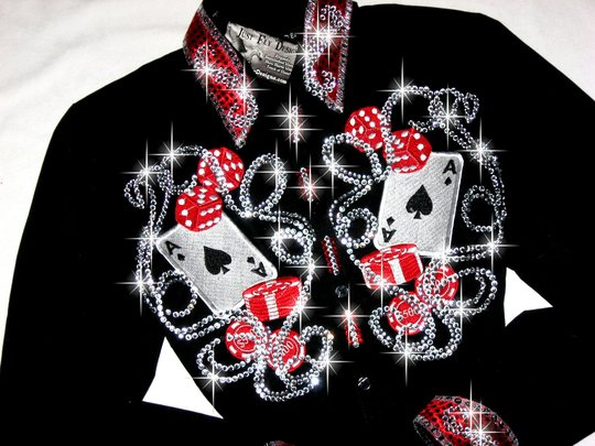 LUCKY LADY!  NFR perfect! Embroidered Aces &More!