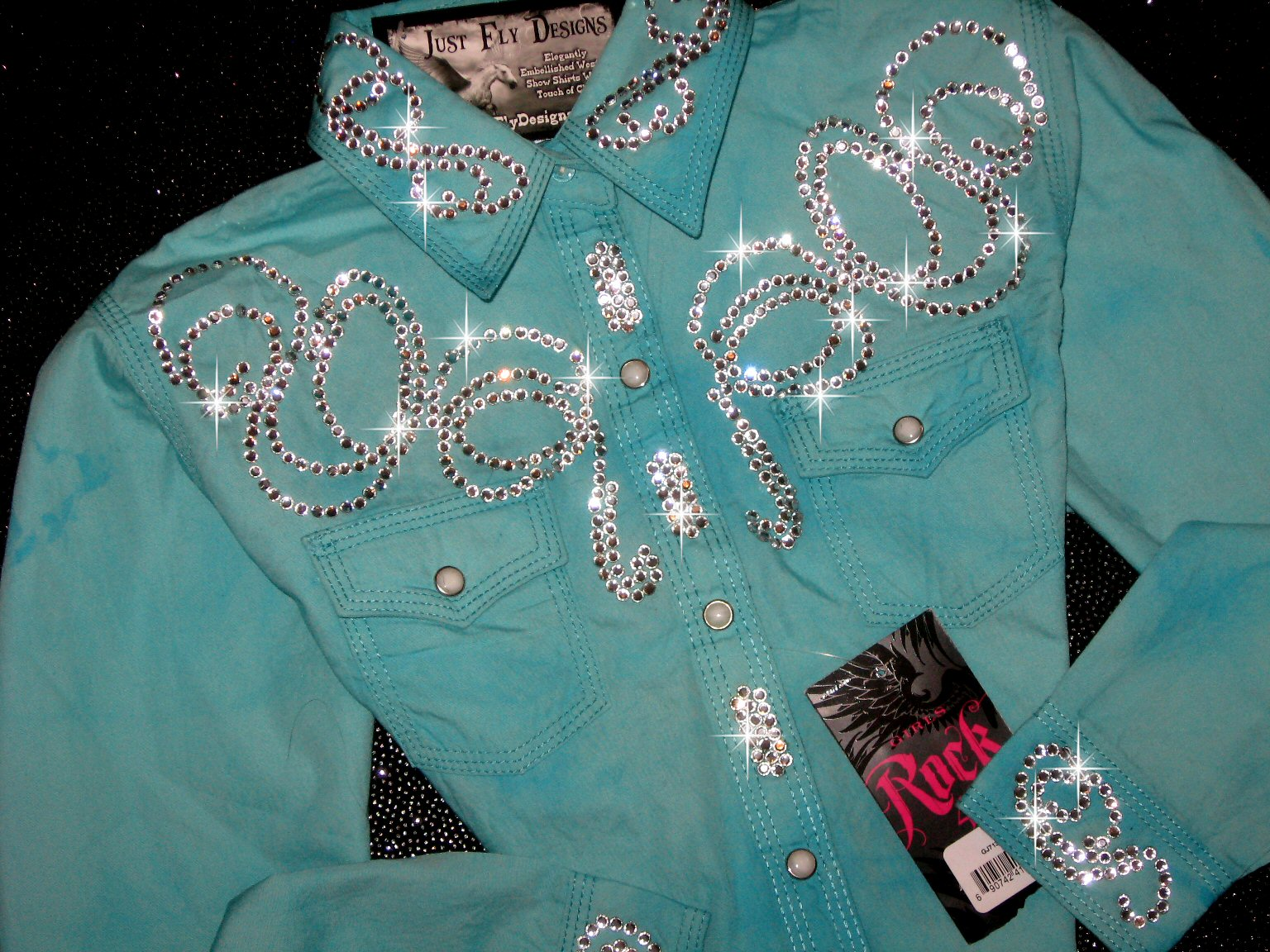 YOUTH! ROCK 47! TURQUOISE/AQUA TIE DYE!! MAXIMUM BLING!