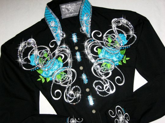 Roses & Scrolls in Turquoise! MAX BLING!