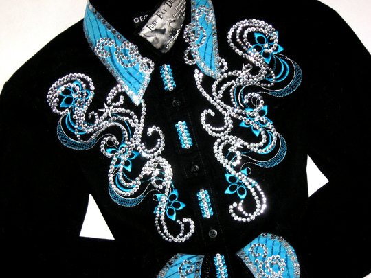 SALE PENDING! YOUTH! EMBROIDERED TURQUOISE! MAX BLING!