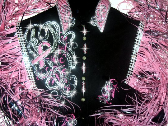 Hope & Luck! PINK RIBBONS! EMBROIDERED!