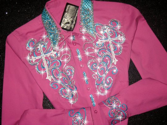 FUCHSIA & TURQUOISE CROSS EMBROIDERED SCROLLS & CROSSES