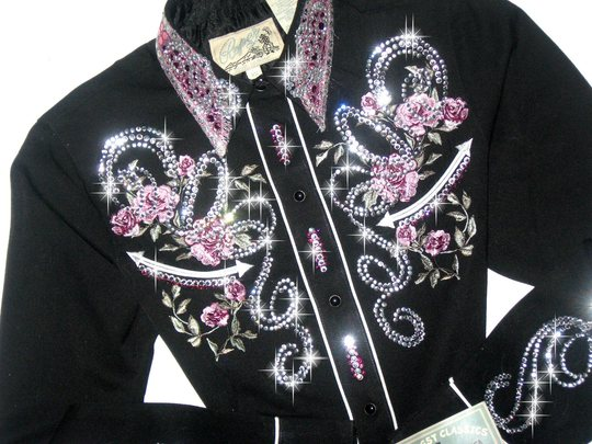 Embroidered Pink Roses! Crystals Galore!