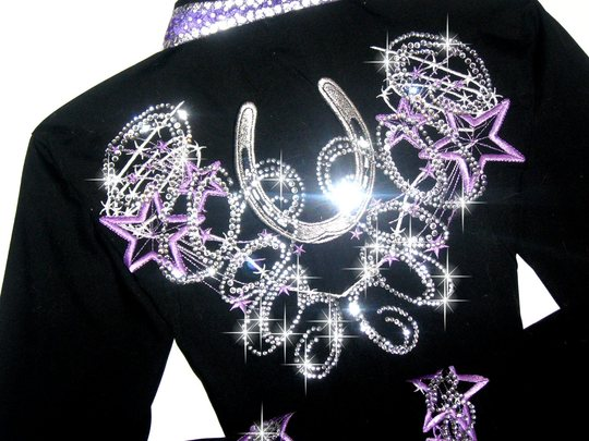 Purple Stars & Horseshoes! Embroidered Barbed Wire! BLING GALORE!