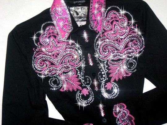 DELICATE PINK SCROLLS! MEGA BLING! Barrel Racing/Rodeo Queen Shirt