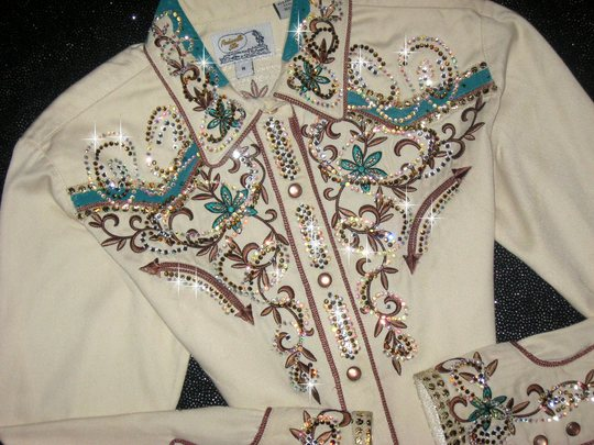 Vintage Classic!  Teal & Light Tan embellished with Clear & AB Crystals!