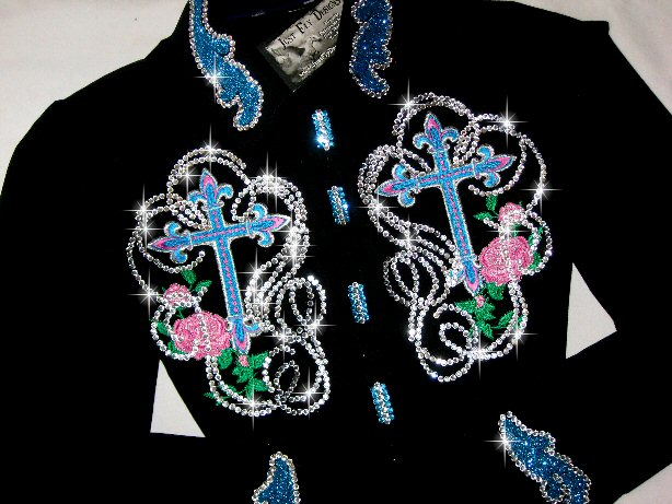 TURQUOISE & PINK CROSSES! CUSTOM EMBROIDERED!  STUNNING!!