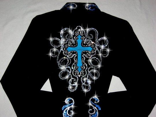 TURQUOISE CROSSES! CUSTOM EMBROIDERED!  STUNNING!