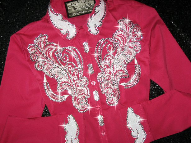 Deep Pink! White Scrolls!! Brilliant Color! Custom Embroidered- Bling !