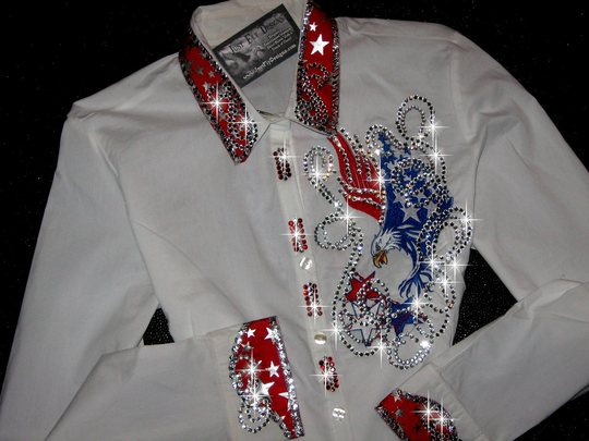 PATRIOTIC EAGLE!  CUSTOM EMBROIDERED! BLING!