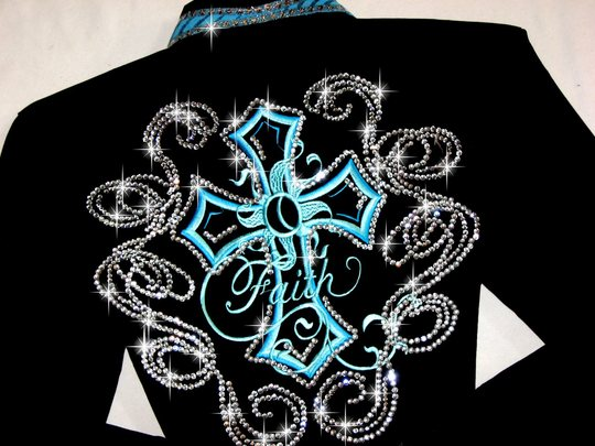 FLYING ON FAITH !! EMBROIDERED!TURQUOISE MEGABLING!