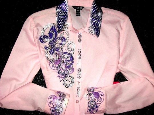 Baby Pink & Purple embroidered barrel racing rodeo queen shirt