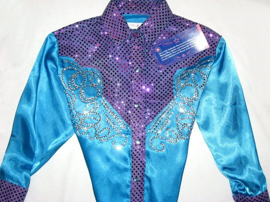 Turquoise & purple sparkle rodeo princess shirt