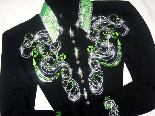 LOVELY LIME GREEN!!! CUSTOM EMBROIDERED! MEGA BLING!
