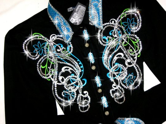 Turquoise & Lime Embroidered Elegance! MAX BLING!