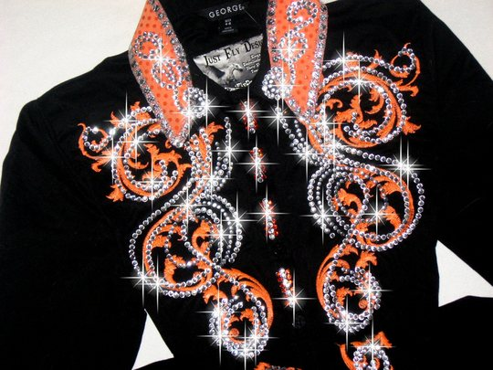 AWSOME ORANGE! EMBROIDERED SCROLLS!