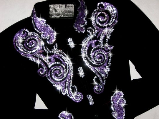 SCROLLS IN ELEGANT PURPLE! SPARKLE! CRYSTALS GALORE!
