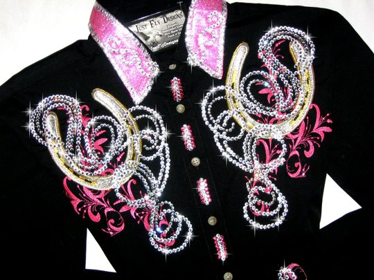 EMBROIDERED HORSE SHOES AND SCROLLS IN PINK! MAX BLING!