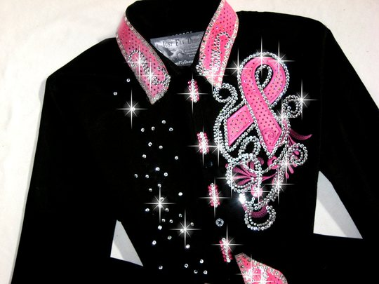 Pink ribbon embroidered applique scrolls