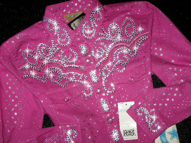 YOUTH SIZE !  Hot Pink and Silver! BLING GALORE!