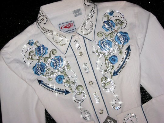 PRISTINE WHITE ROPER! EMBROIDERY & BLING!