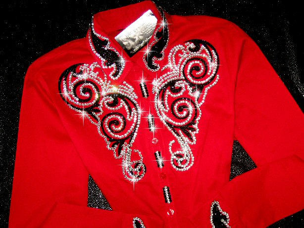 Ravishing Red with Black Sparkle Scrolls! Holiday Perfect!
