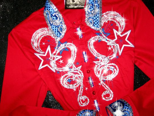 PATRIOTIC STAR RED !! CUSTOM EMBROIDERED! MEGABLING!!