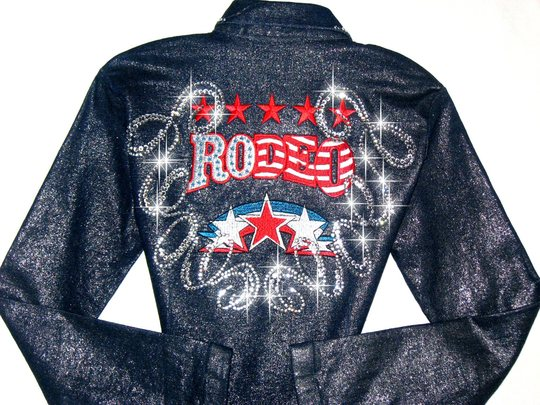 Rodeo star shimmery denim rodeo queen barrel racing shirt